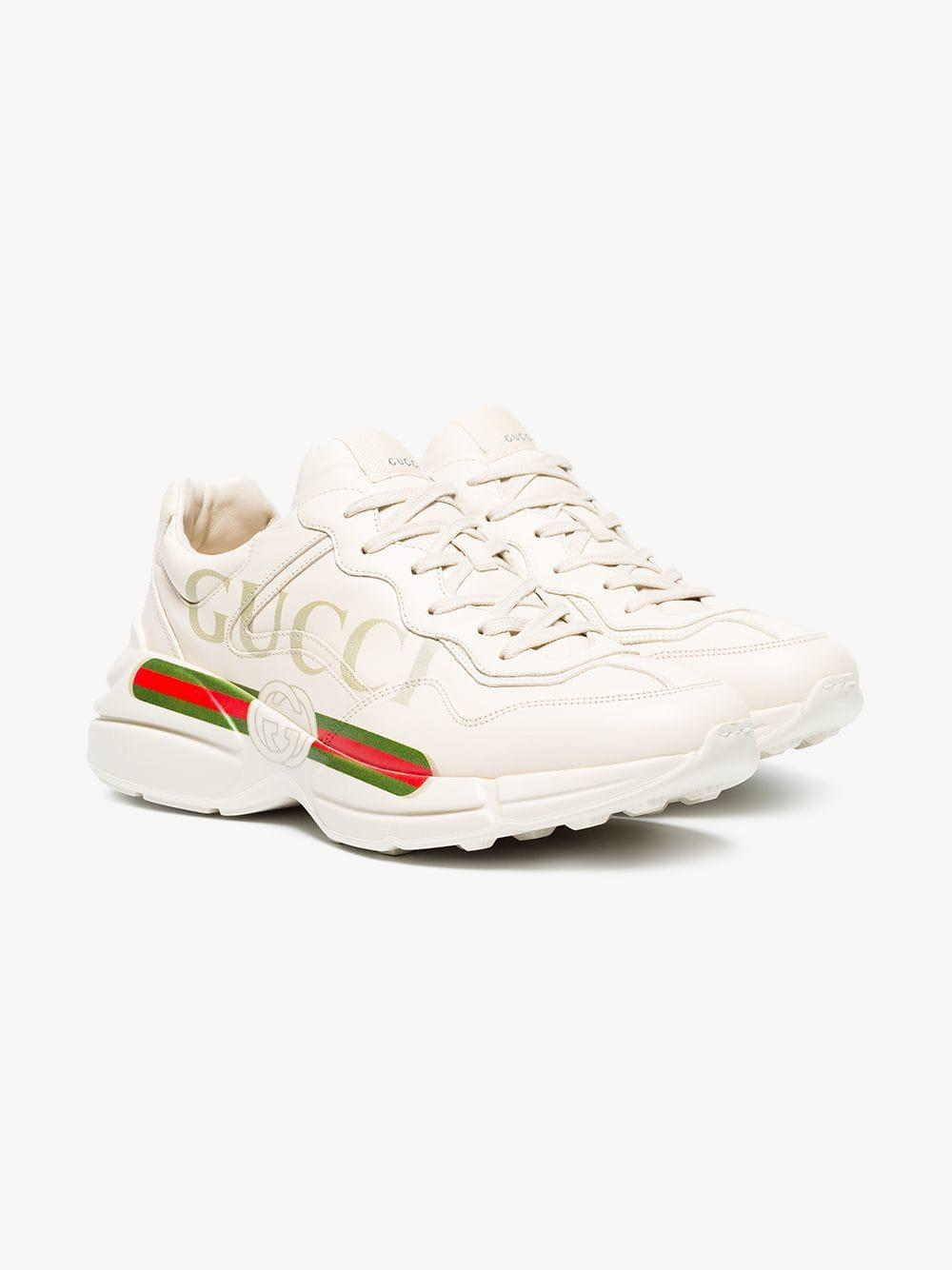 c0d18eac410 GUCCI Mens rhyton distressed leather running sneakers (White. PreviousNext.  View fullscreen