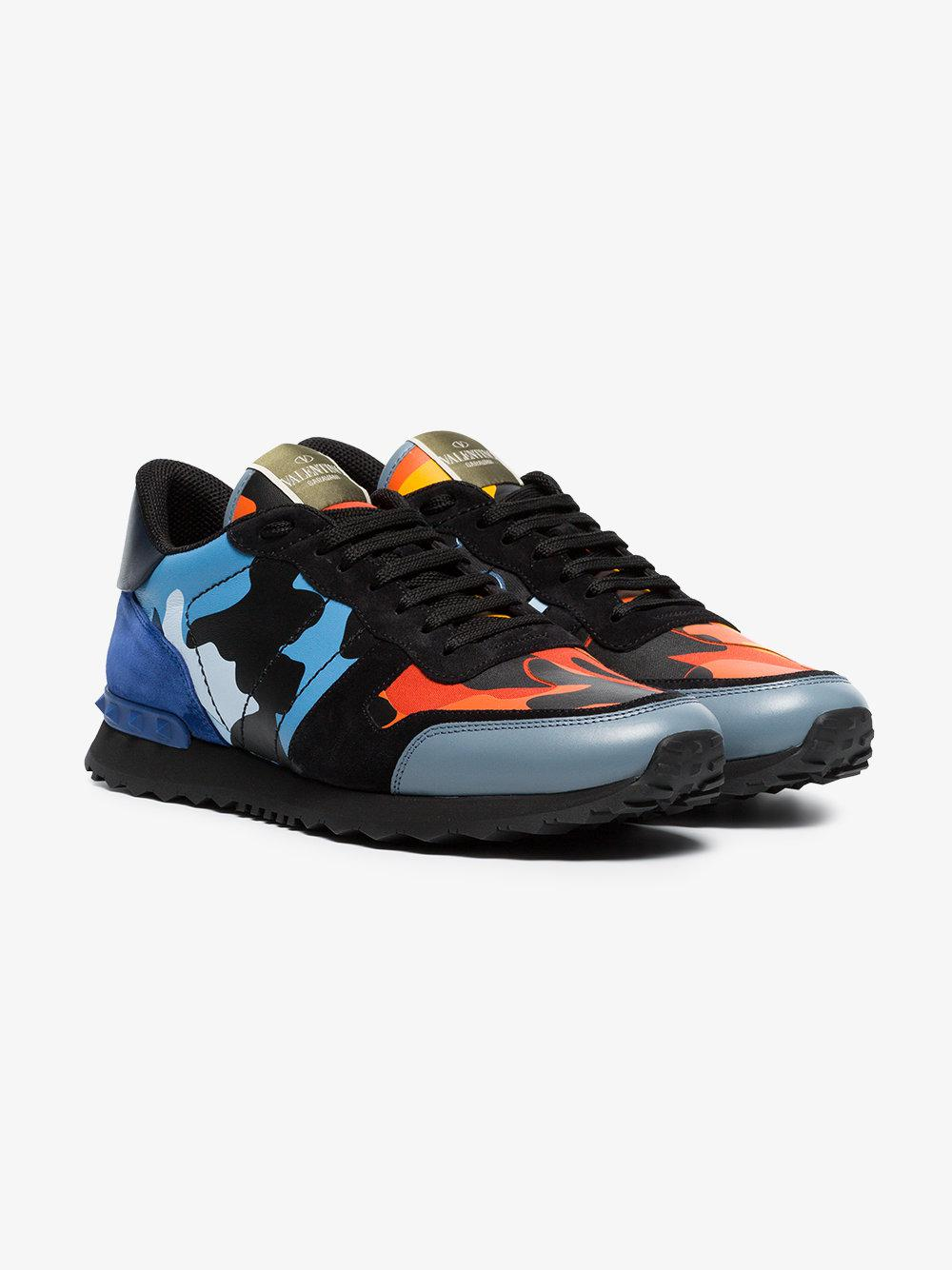 black, blue and orange camouflage rockrunner leather sneakers - Yellow & Orange Valentino