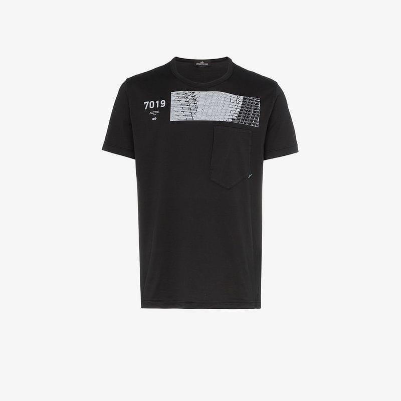 2e9f0d57 Lyst - Stone Island Shadow Project S I Sp Ss Tee Prnt Blk in Black ...