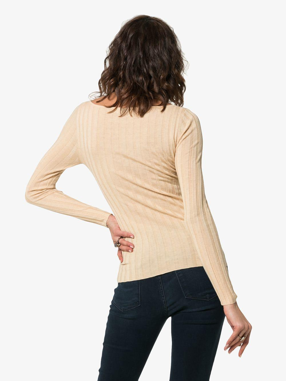 96c4b1a1fdc5ef Lyst - Totême Toury Ribbed Wool And Cashmere Top in Natural - Save 3%