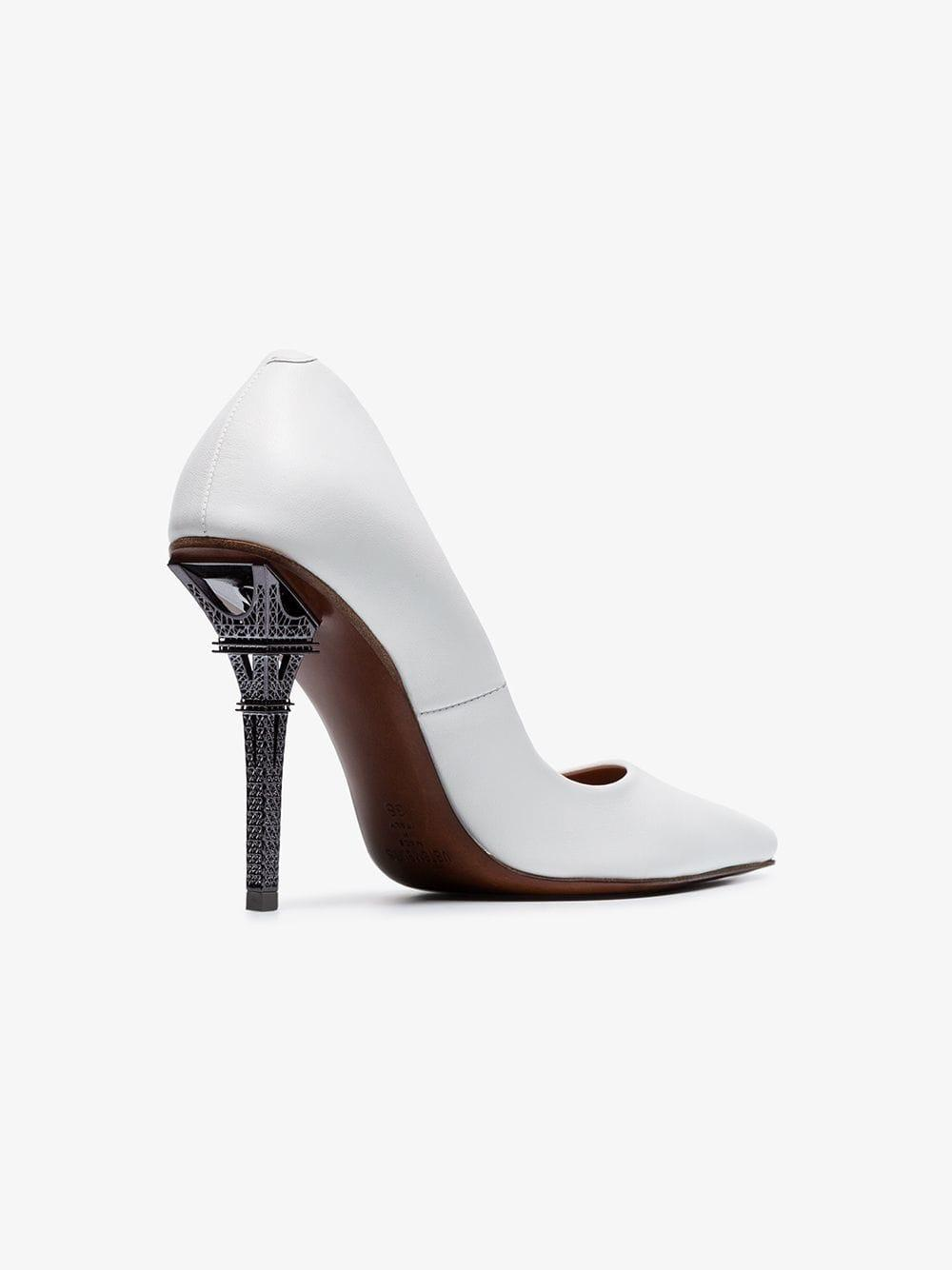 065a1309a56 Lyst - Vetements White Eiffel Tower 110 Leather Pumps in White