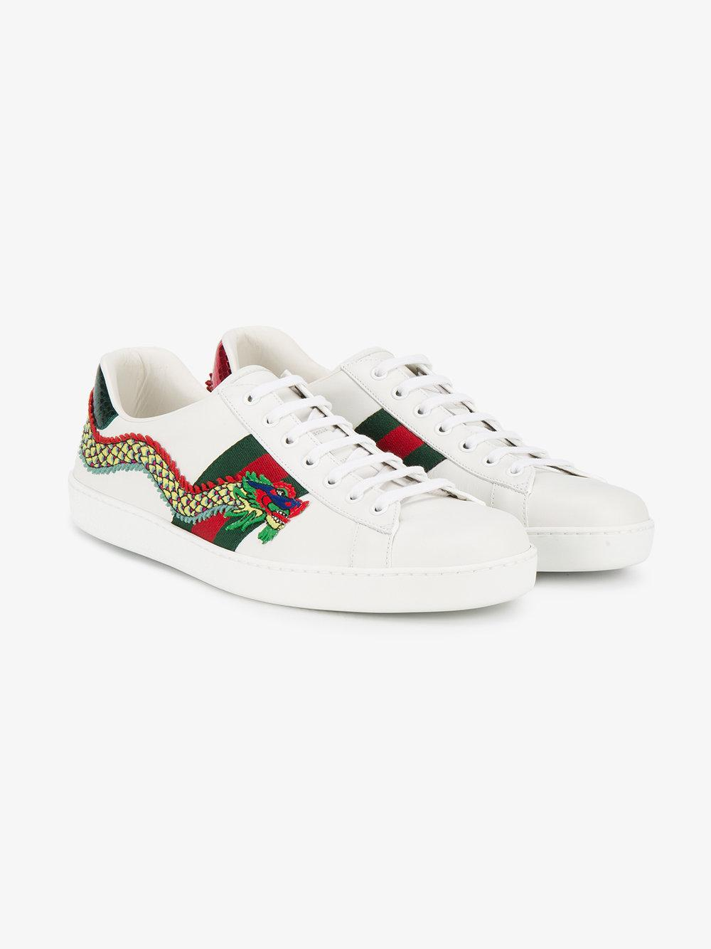 b2a8a5c03be Lyst - Gucci Dragon Embroidered Ace Sneakers in White for Men