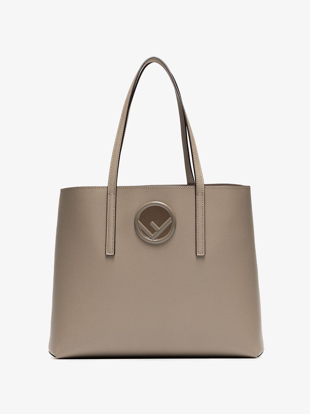 Fendi - Natural Beige Logo Plaque Leather Shopper Bag - Lyst. View  fullscreen a24eb8e139f7a