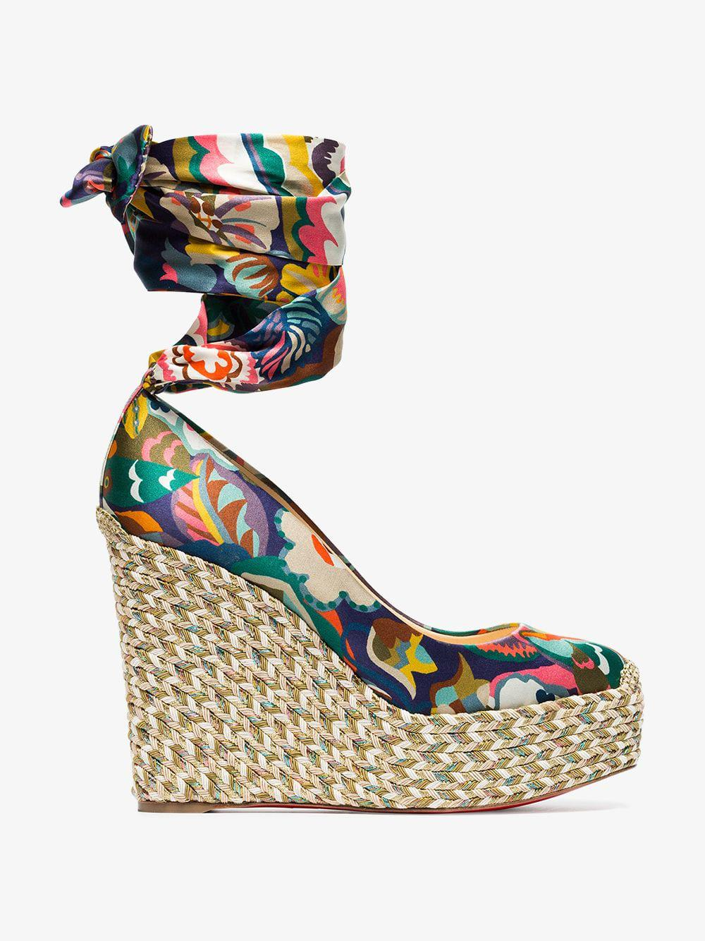 91404a7ccbb Christian Louboutin - Multicolor Multicoloured Barbaria Zeppa 120 Floral  Satin Wedge Sandals - Lyst. View fullscreen