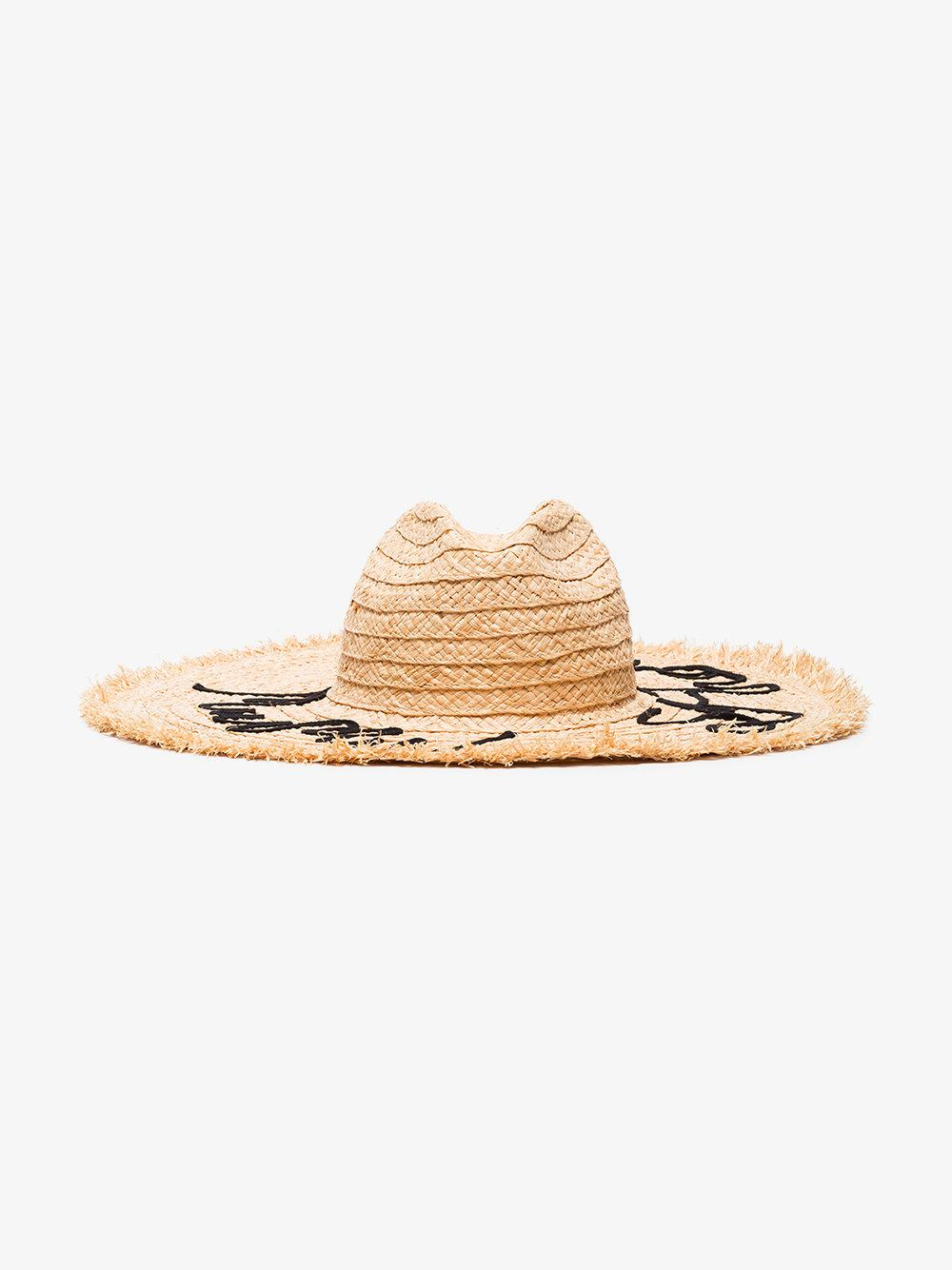 Lyst - Miu Miu Embroidered Straw Hat in Natural c784cd76f6f