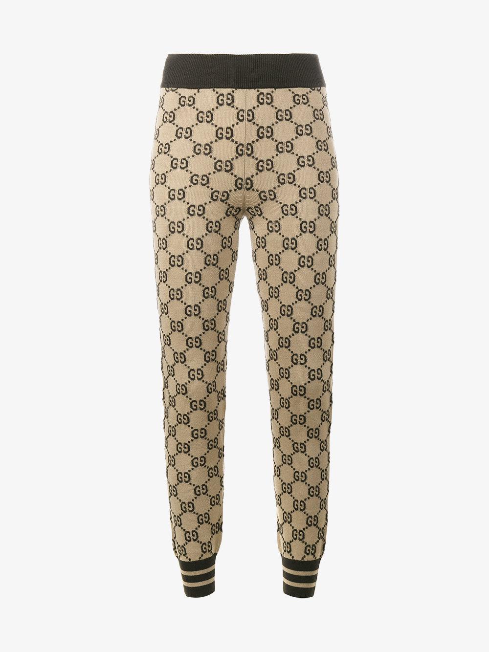 2dd694ba09eed Gucci Logo Intarsia Knitted Leggings in Brown - Lyst