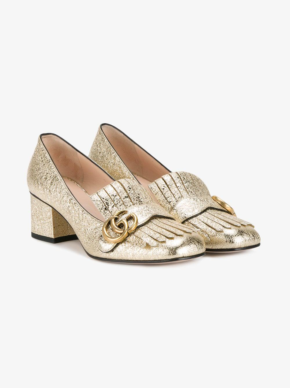 f2e20603f279 Lyst - Gucci Marmont Leather Mid Heel Pumps in Metallic - Save 18%