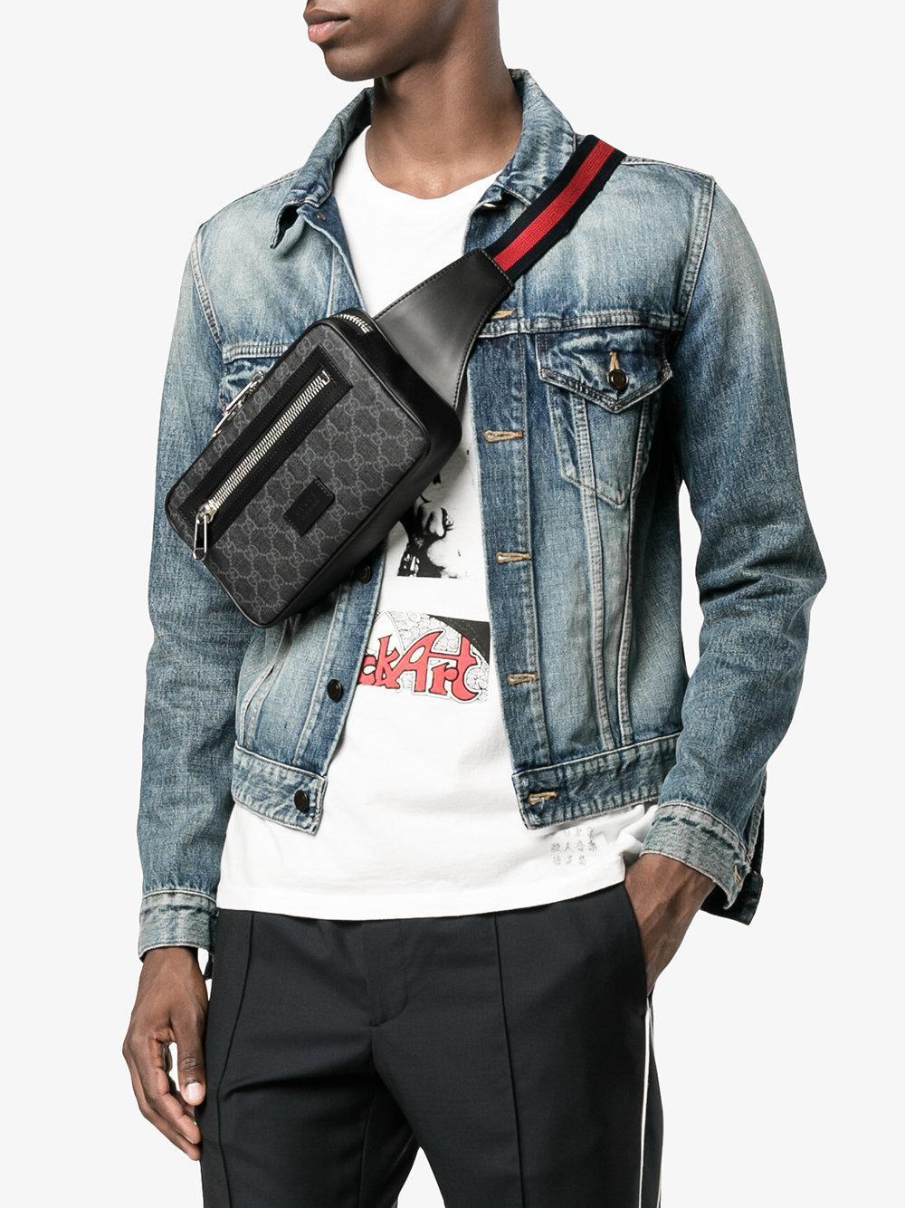 51c13dce7 Gucci Gg Supreme Belt Bag in Black for Men - Lyst