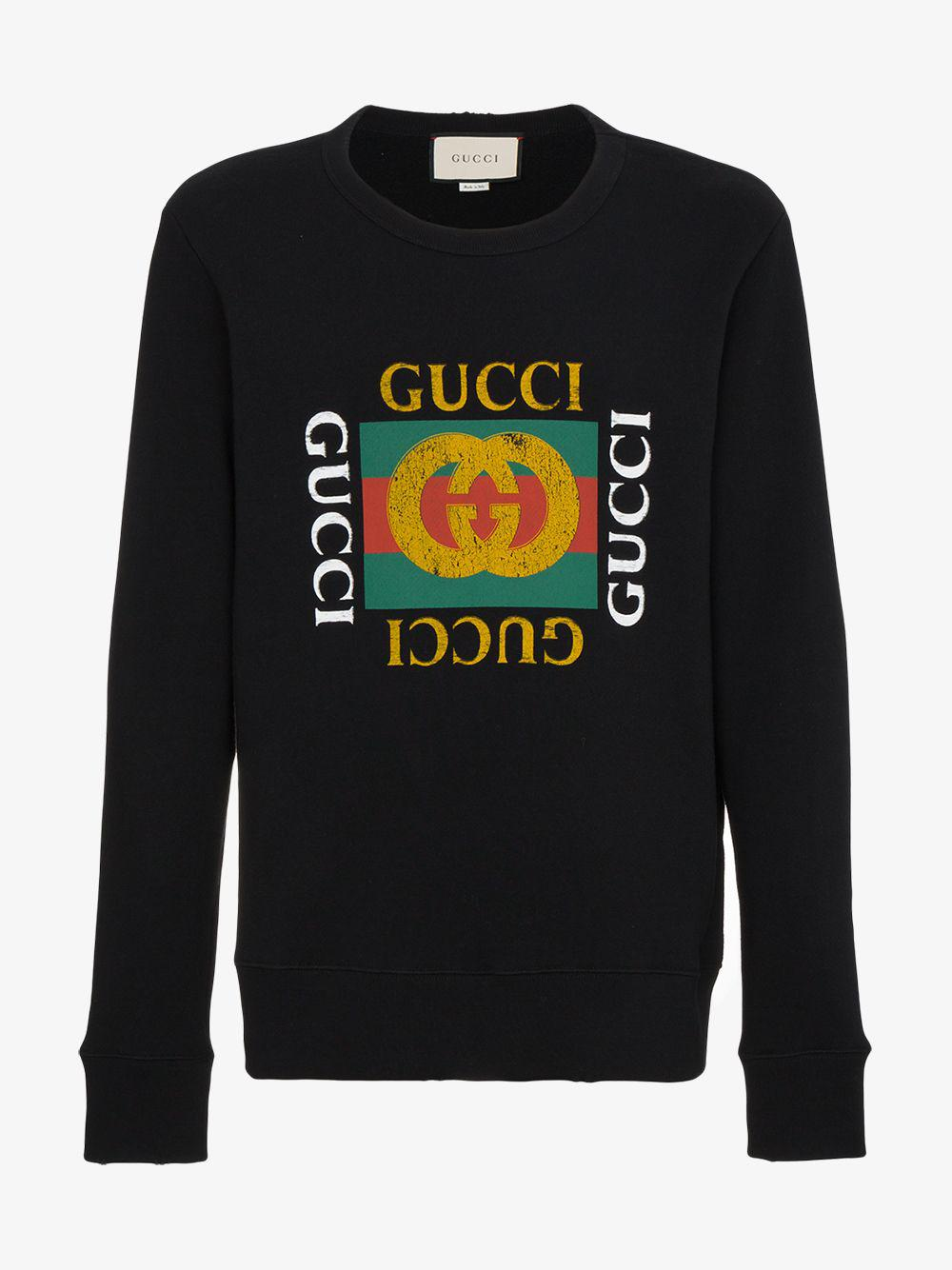 bbaa40ddfb4 Lyst - Gucci Cotton Sweatshirt With Logo in Black for Men - Save 72%