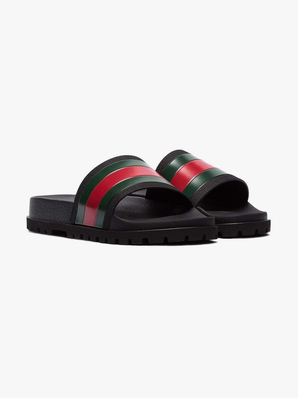 13805b3a3e3 Lyst - Gucci Black Pursuit Web Slides in Black for Men - Save 13%