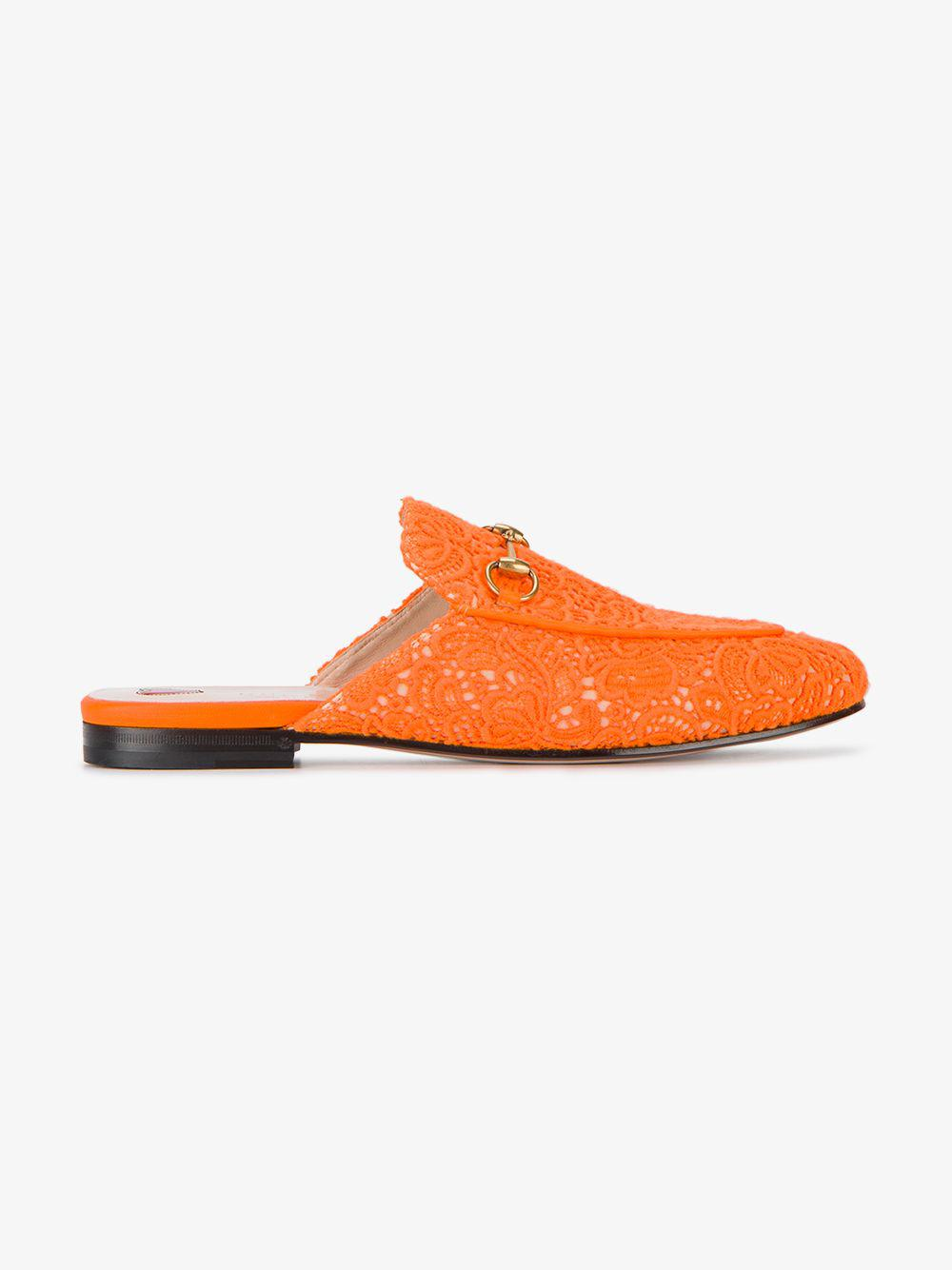 0572f3b9c03 Gucci - Orange Princetown Embroidered Lace Mules - Lyst. View fullscreen