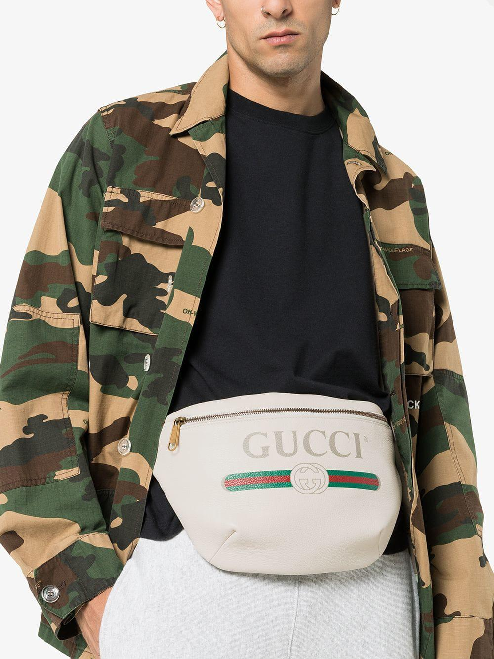 4a059ad7b9838 Lyst - Gucci White Print Leather Belt Bag for Men