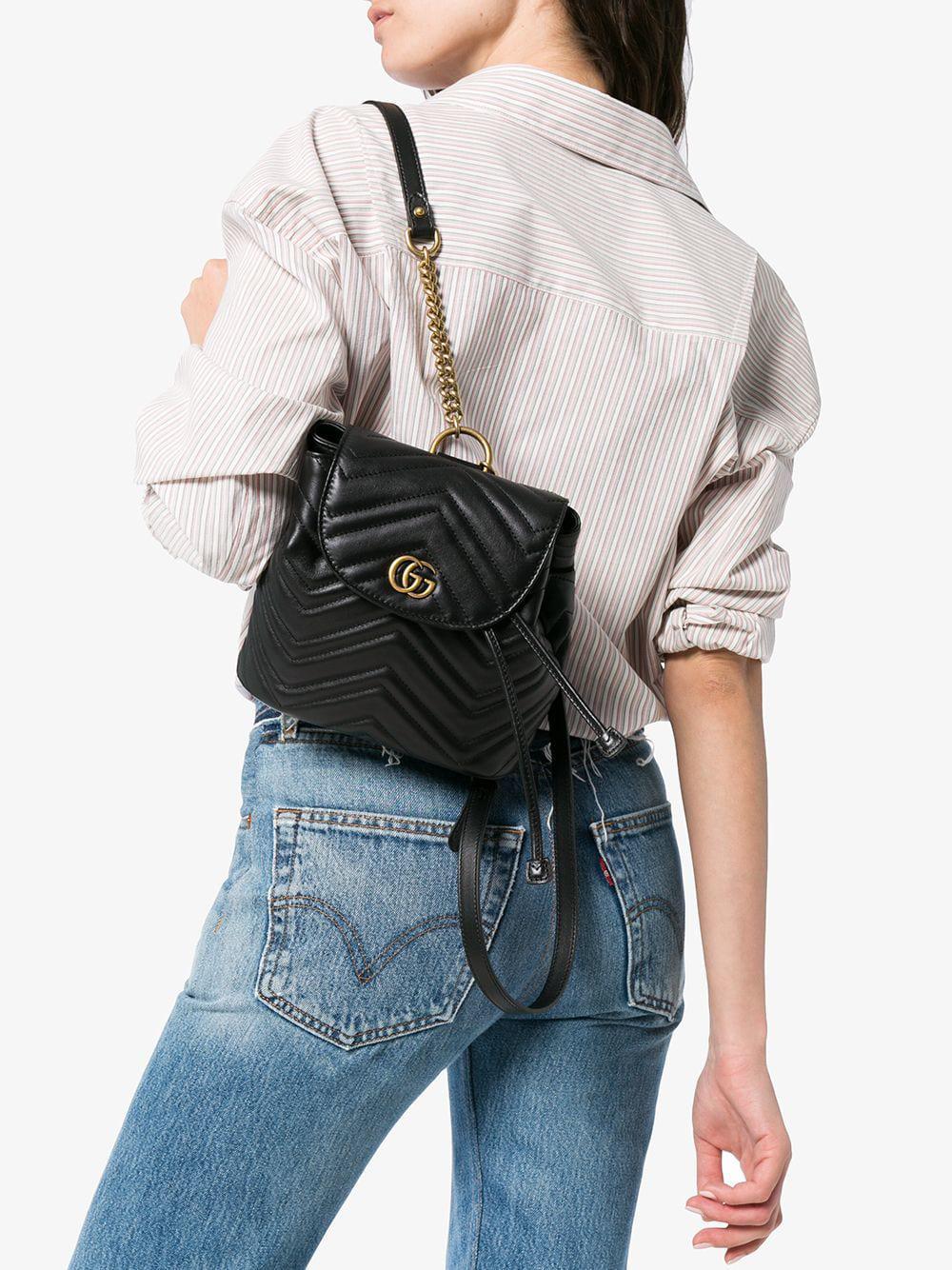 53f9e0ab8439 Gucci - Black GG Marmont Matelassé Backpack - Lyst. View fullscreen
