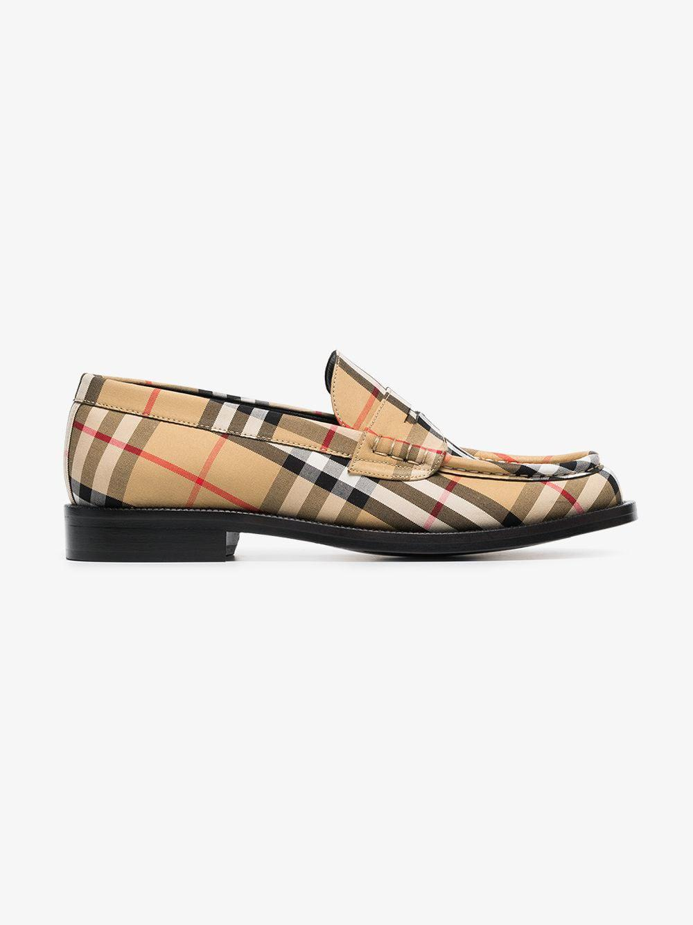 0638666684f Burberry Vintage Check Penny Loafers in Yellow - Save 40.0% - Lyst