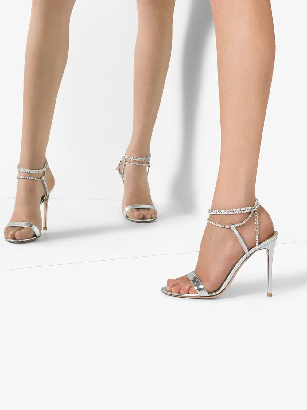 976da356d Gianvito Rossi - Silver Tennis 105 Crystal Metallic Sandals - Lyst. View  fullscreen