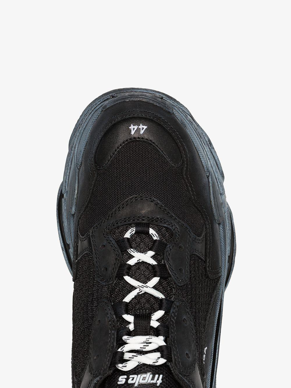 e7ee79ec4cdd Balenciaga Black Triple S Distressed Leather Sneakers in Black for ...
