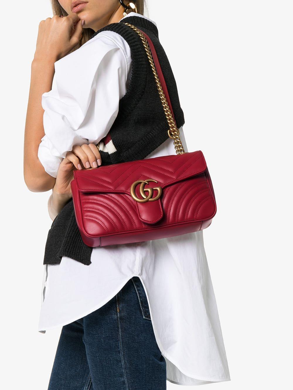 9a4384b92be19b Gucci - Red GG Marmont Small Matelassé Shoulder Bag - Lyst. View fullscreen
