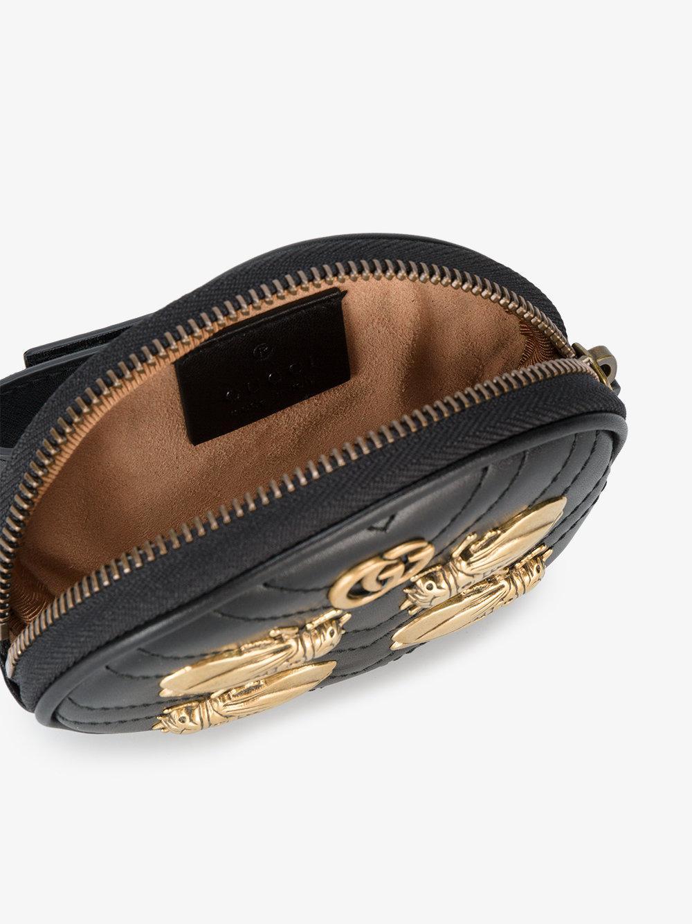 da8583faa15001 Gucci Marmont 2.0 Bee Embellished Purse in Black - Lyst