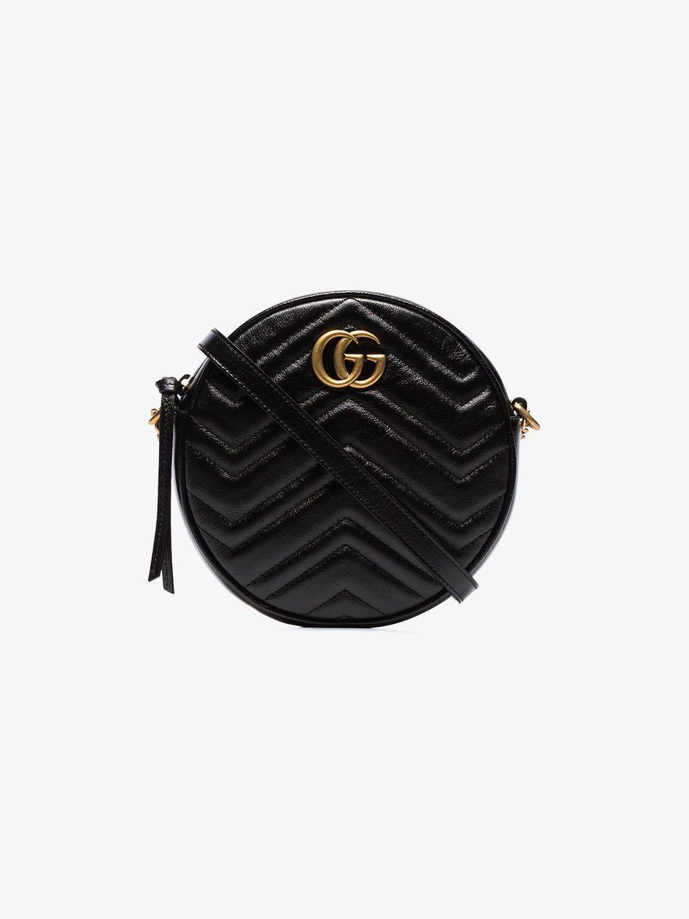 367f0931f354 Gucci Black GG Marmont Mini Round Shoulder Bag in Black - Lyst