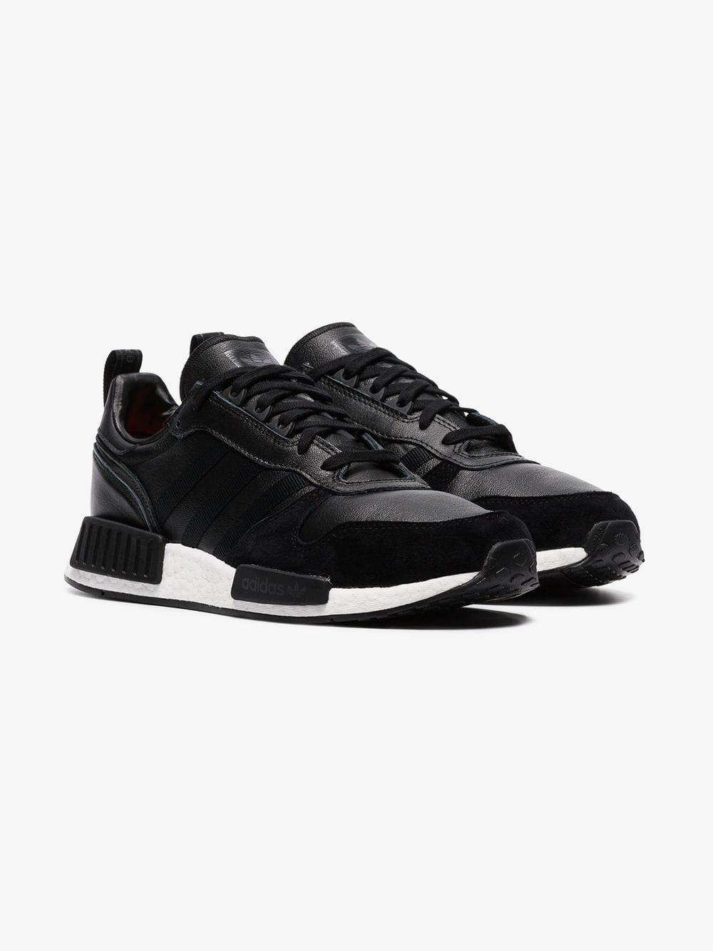 05d980a27729e4 Lyst - adidas Black Rising Star R1 Leather And Suede Sneakers in ...