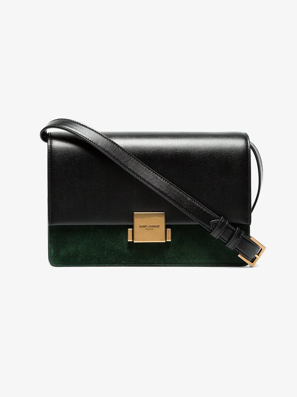 Lyst - Saint Laurent Black And Green Bellechasse Large Leather Shoulder Bag  in Black a6e746addd719