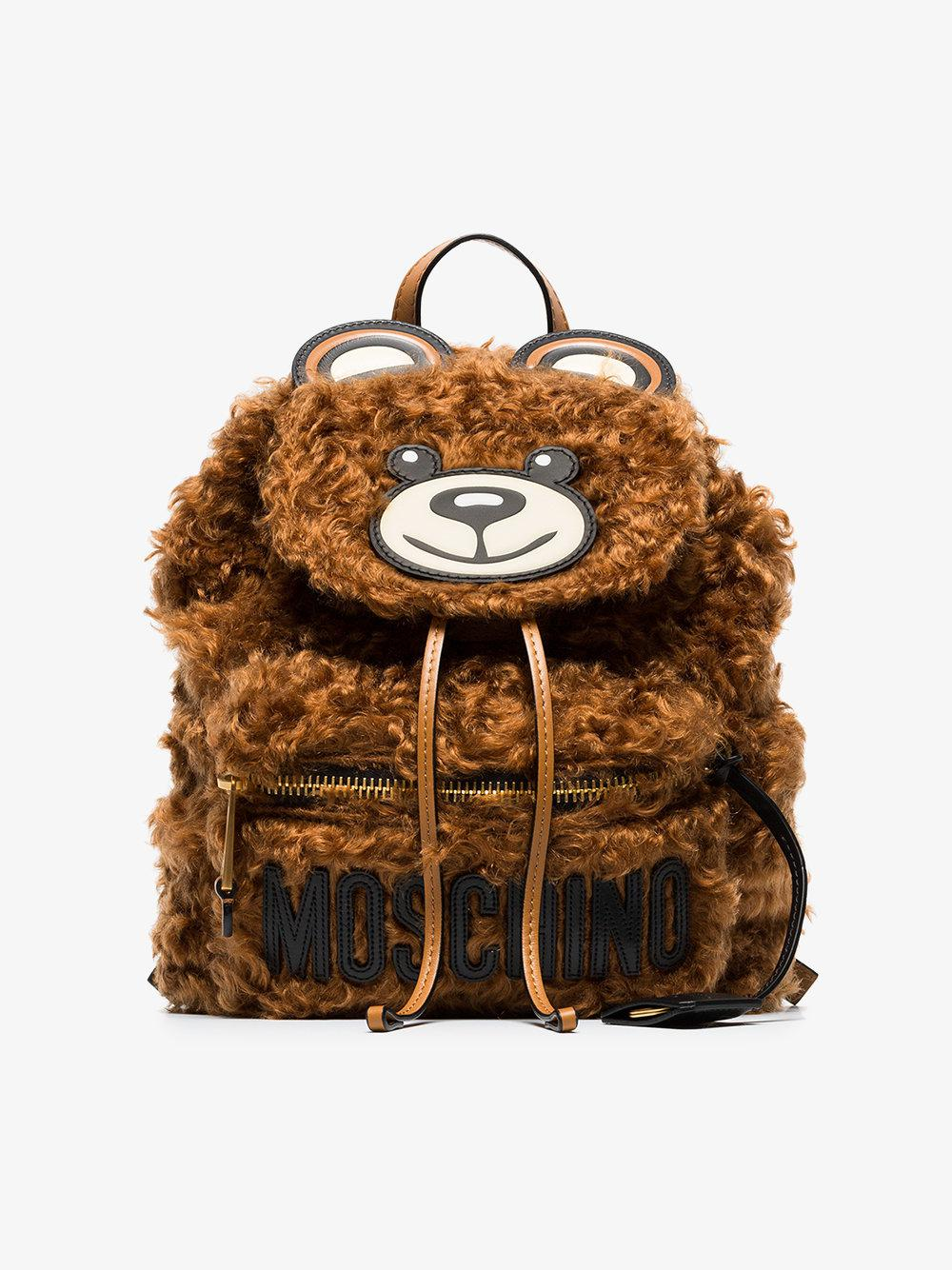 Quality From China Wholesale Moschino brown teddy bear shearling backpack Wholesale Online Outlet Order xtm9c1