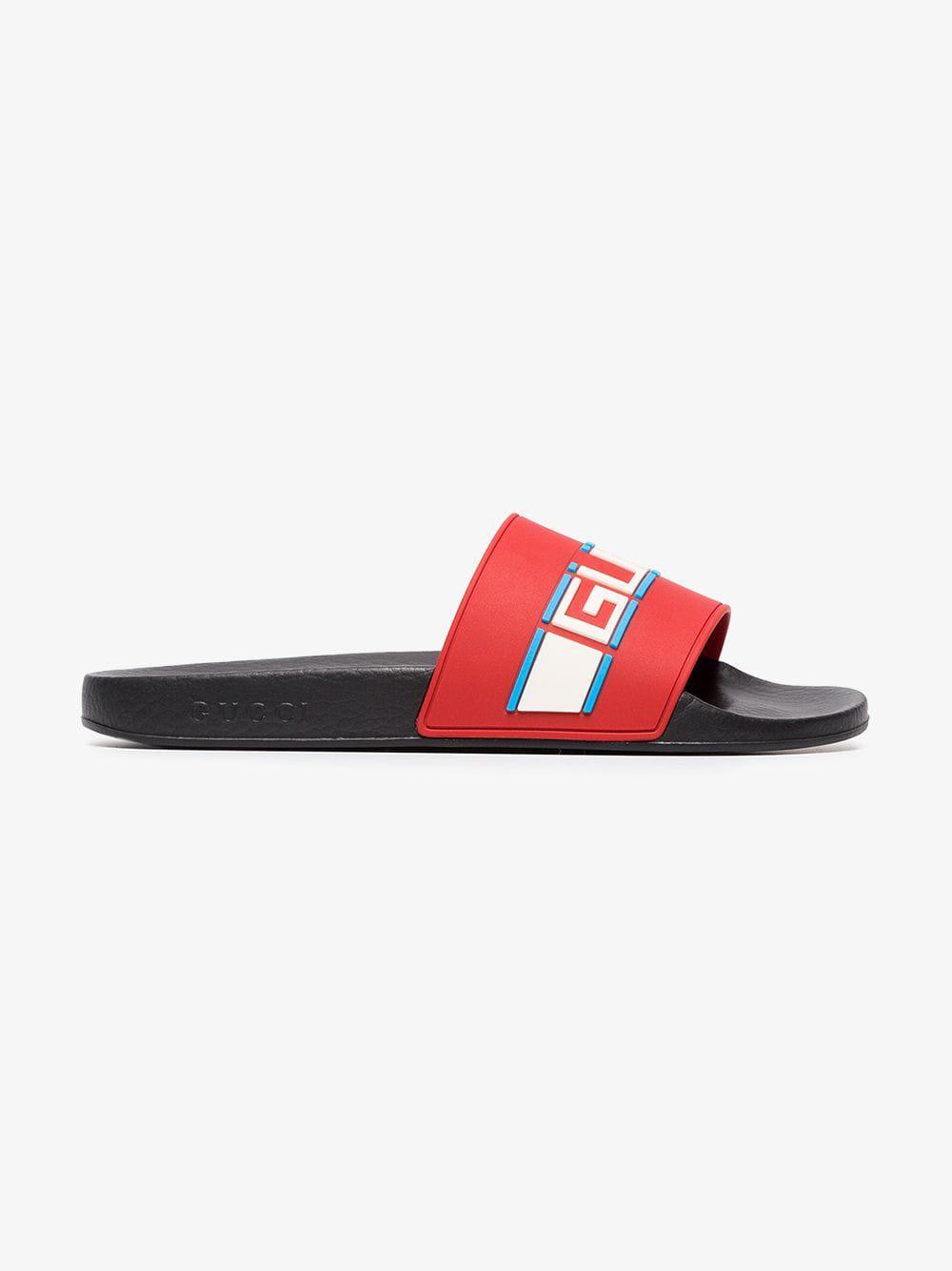 eb33d9fc56146e Gucci Poppy Azure Red Pursuit Sandals in Blue - Lyst