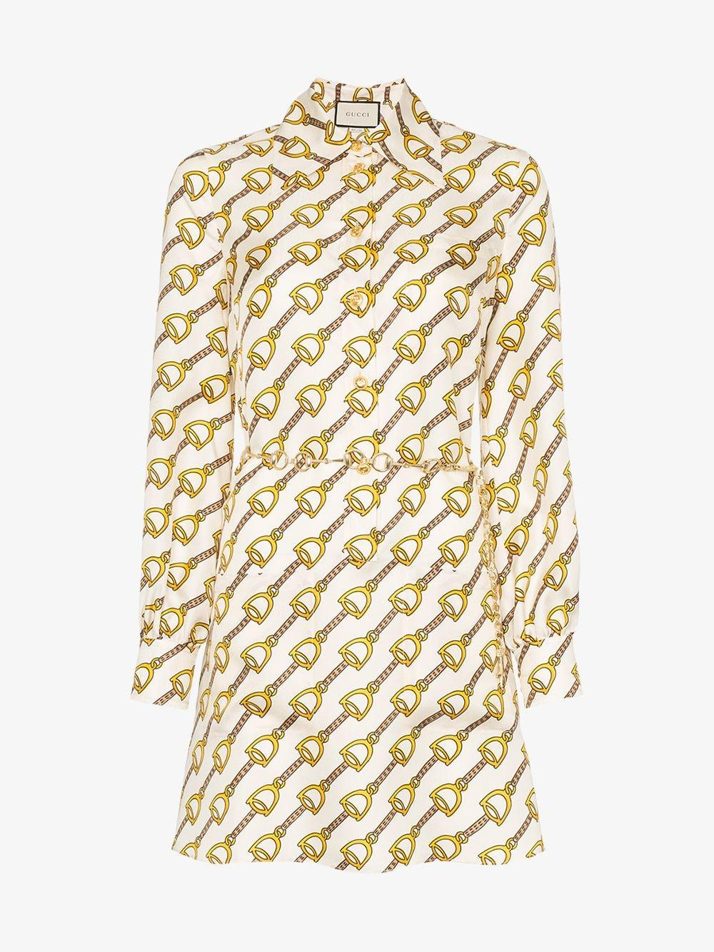53b29082b Gucci Silk Dress With Stirrups Print in Natural - Lyst