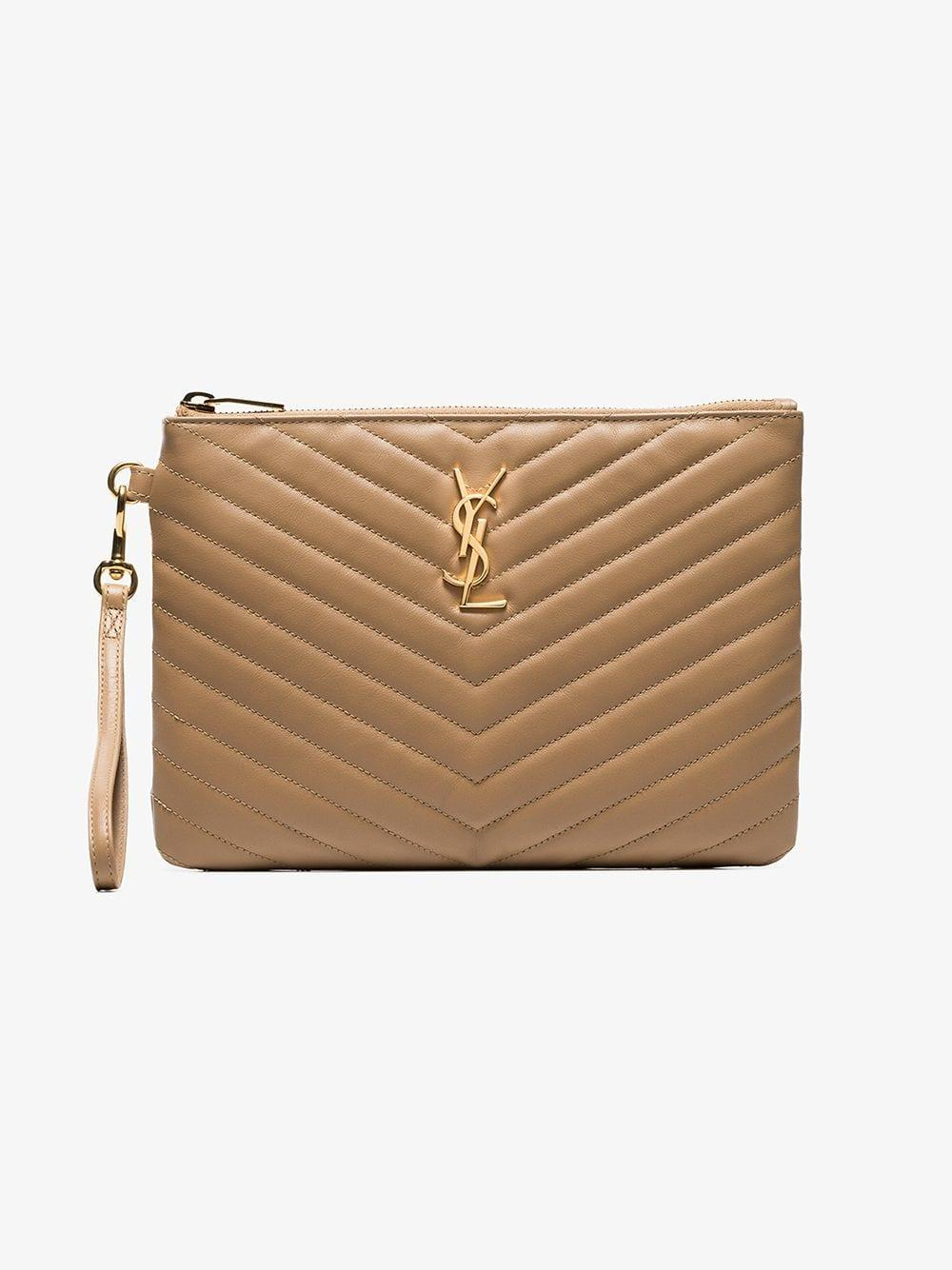 Saint Laurent - Natural Nude Monogram Quilted Leather Pouch - Lyst. View  fullscreen aa28242526a66