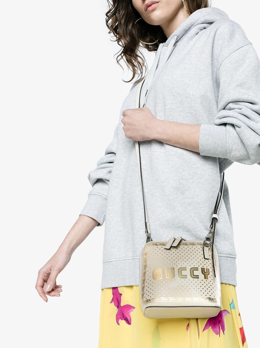 0985b03e9cf Lyst - Gucci White Guccy Mini Leather Shoulder Bag in White