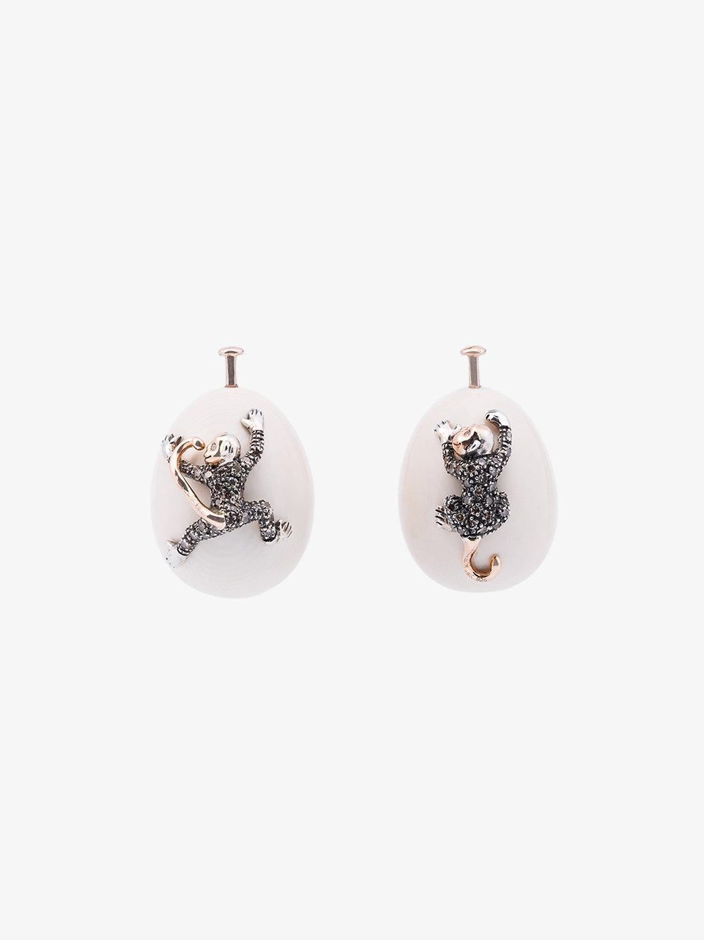 18k yellow gold Hanging Parts mammoth tusk earrings Bibi van der Velden vXx1g