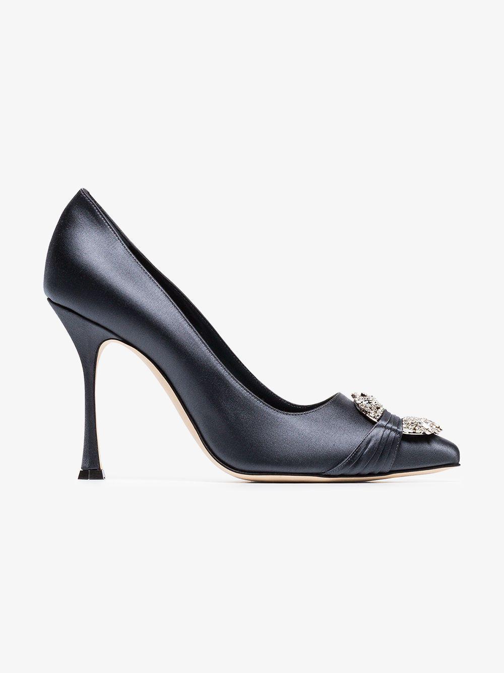 93e6a5d40e75 Manolo Blahnik - Blue Maidu 105 Satin Crystal Embellished Heels - Lyst.  View fullscreen