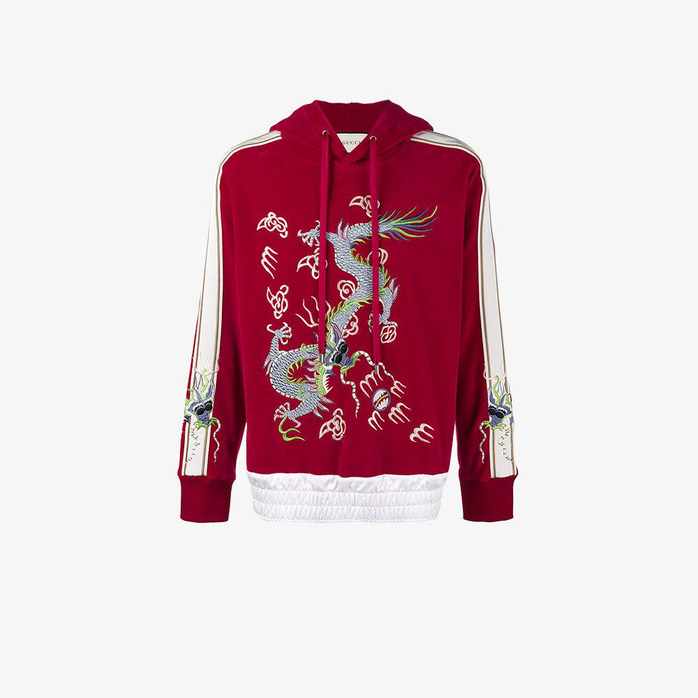 38f2faf8207 Lyst - Gucci Dragon Embroidered Hoodie in Red for Men