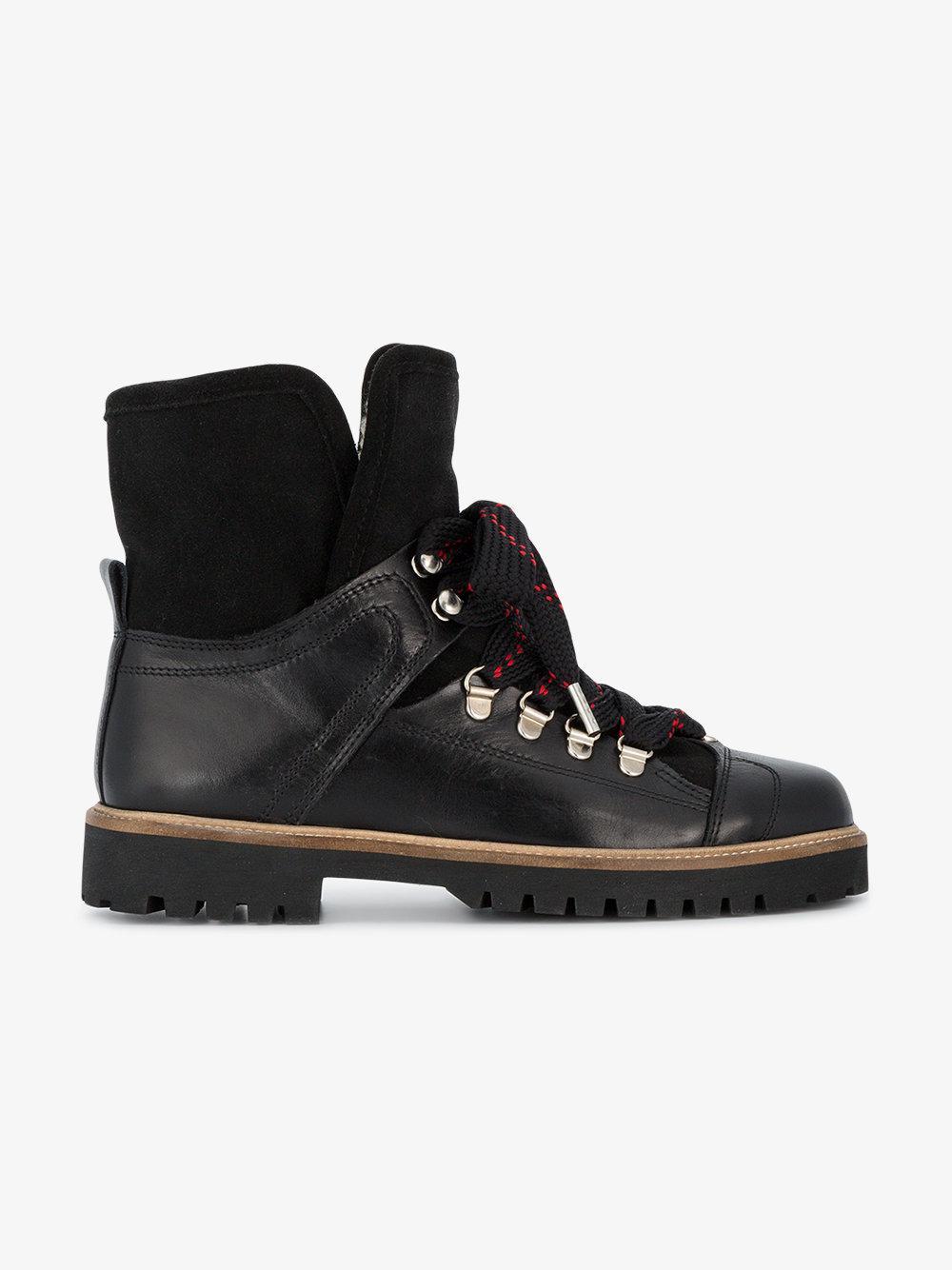brown Edna leather hiking boots Ganni WkgQb