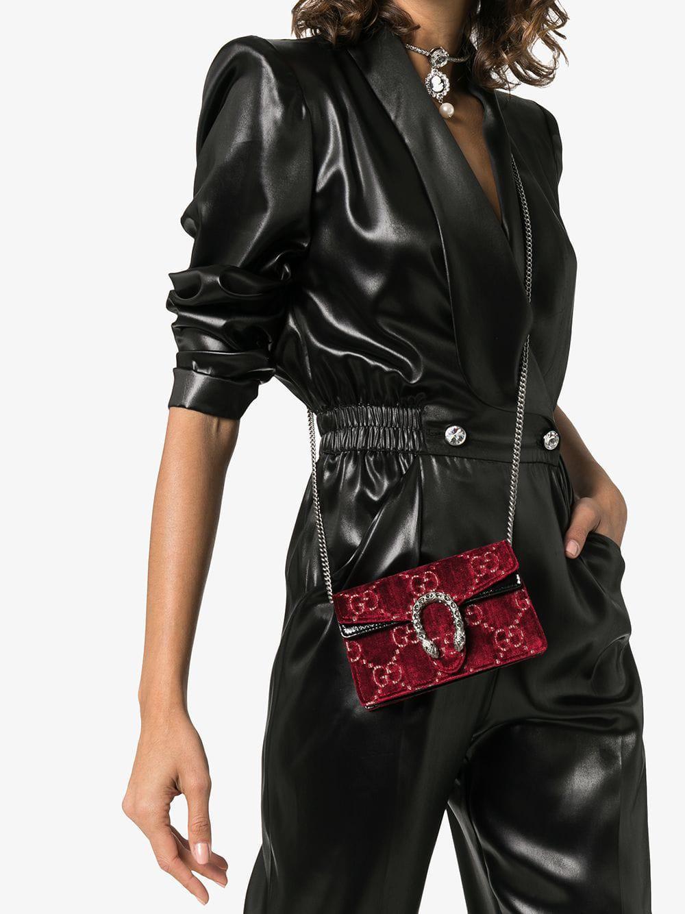 01fa7e11768 Lyst - Gucci Dionysus GG Velvet Super Mini Bag in Red