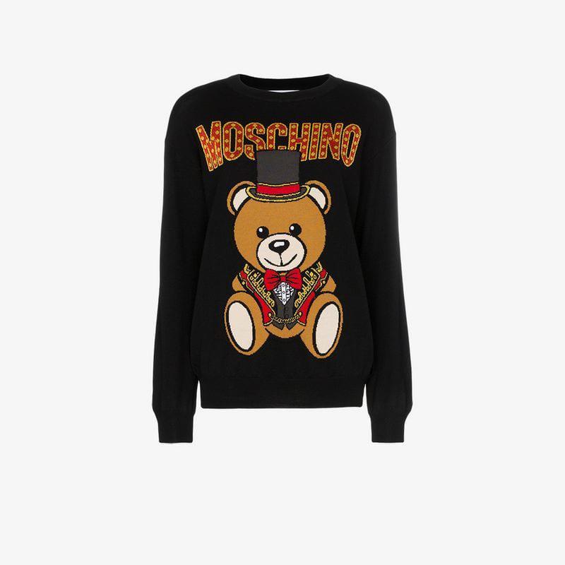 319f59878c1 Lyst - Moschino Logo Bear Intarsia Knitted Virgin Wool Jumper in ...