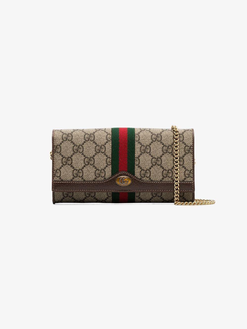 835527effff412 Gucci Beige Mini GG Print Logo Stripe Leather Trim Canvas Cross Body Bag -  Lyst