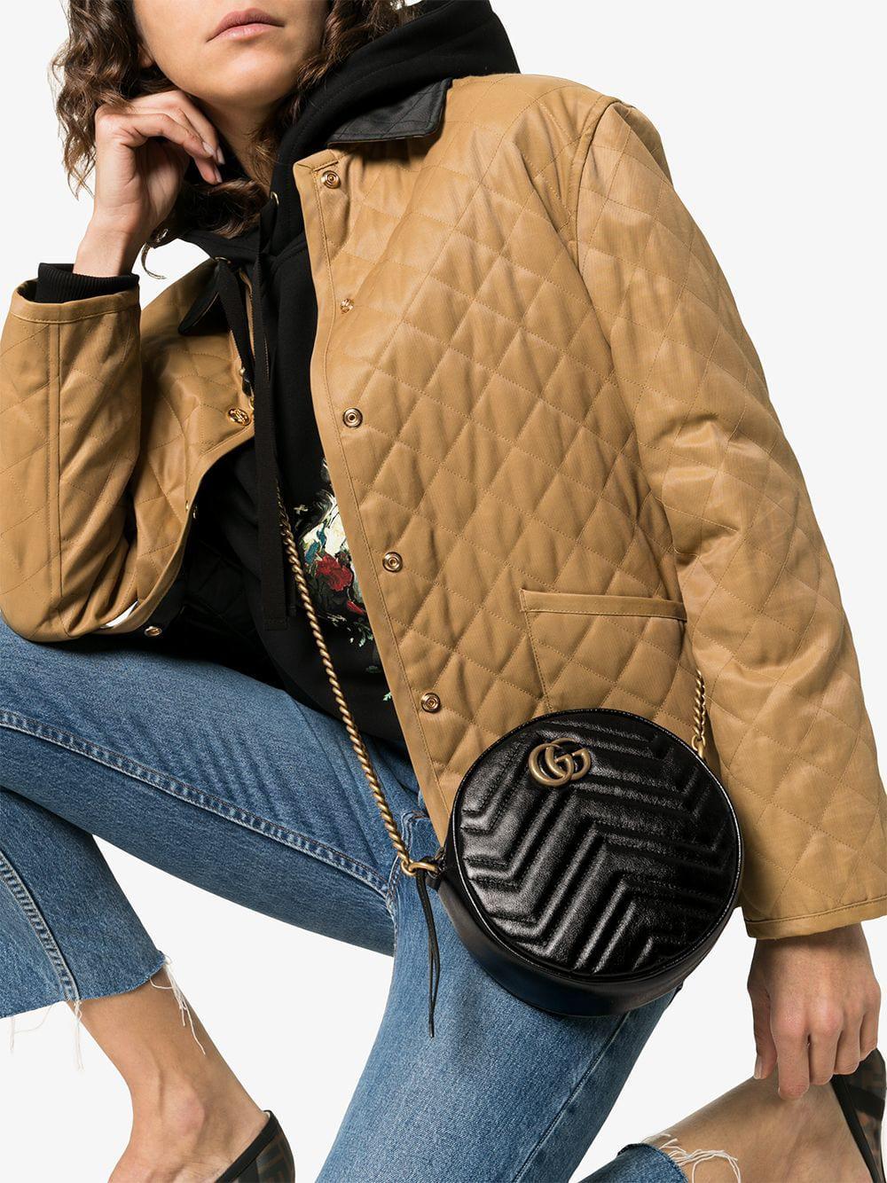 2c118096e7a87 Gucci - Black GG Marmont Mini Round Shoulder Bag - Lyst. View fullscreen