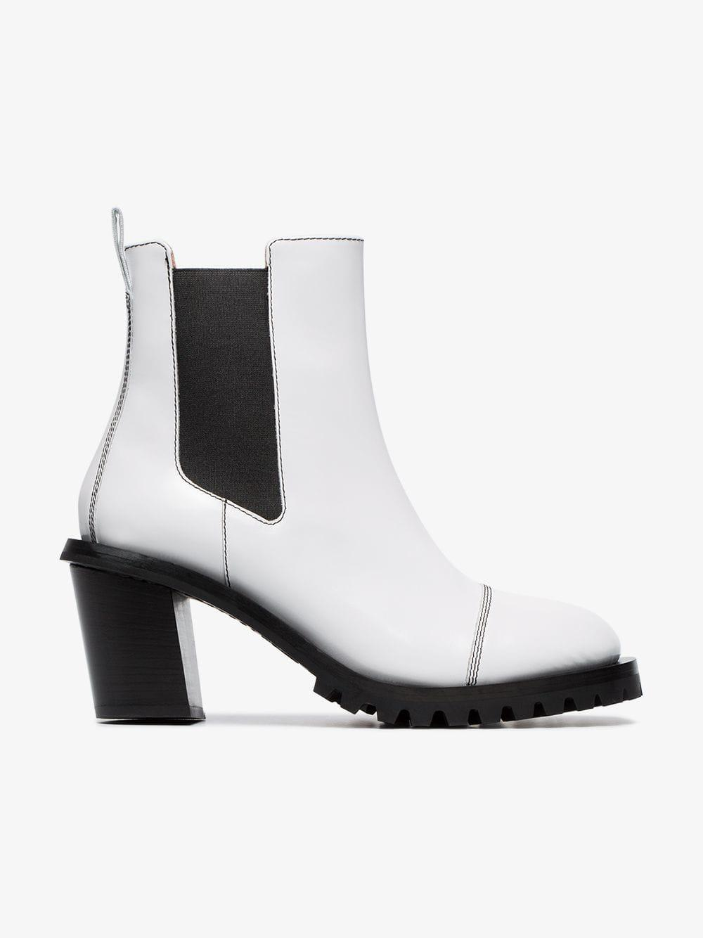 91a994fa1bb0 Acne Pull-on 65 Leather Ankle Boots in White - Lyst