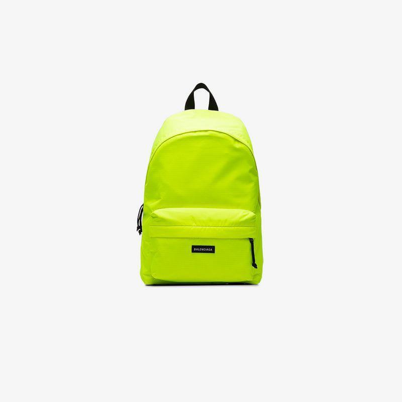 Balenciaga - Yellow Neon Explorer Logo Backpack for Men - Lyst. View  fullscreen d187bb762996f