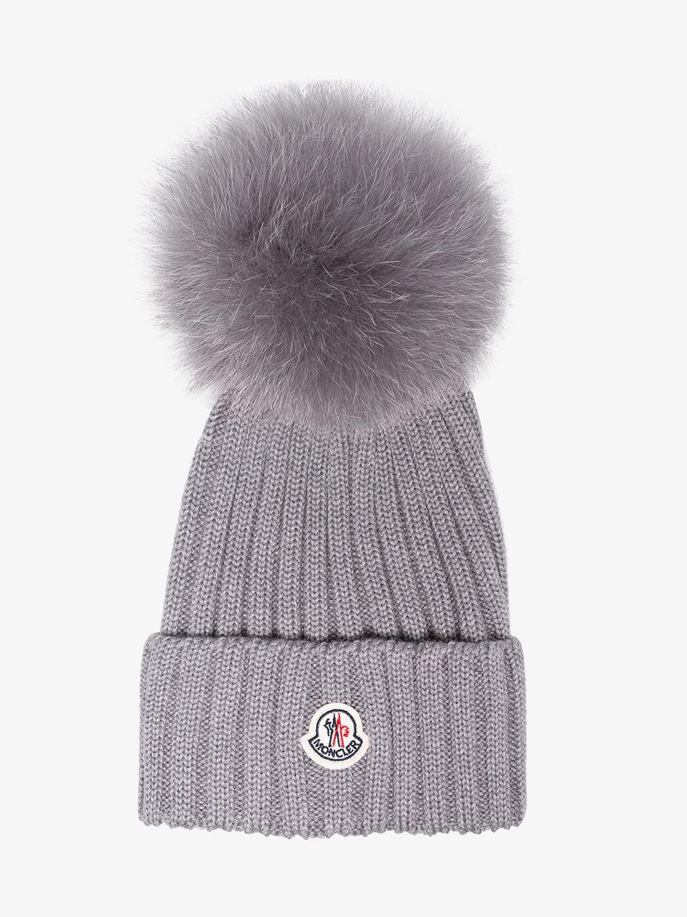 7261c59e678 Lyst - Moncler Grey Wool Beanie Hat With Pom Pom in Gray