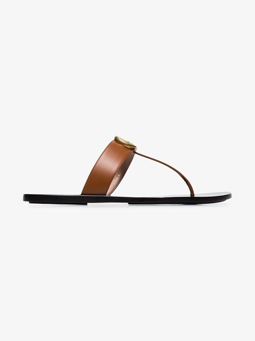 9bd244b779cd7e ... Leather Thong Sandal With Double G - Lyst. View fullscreen