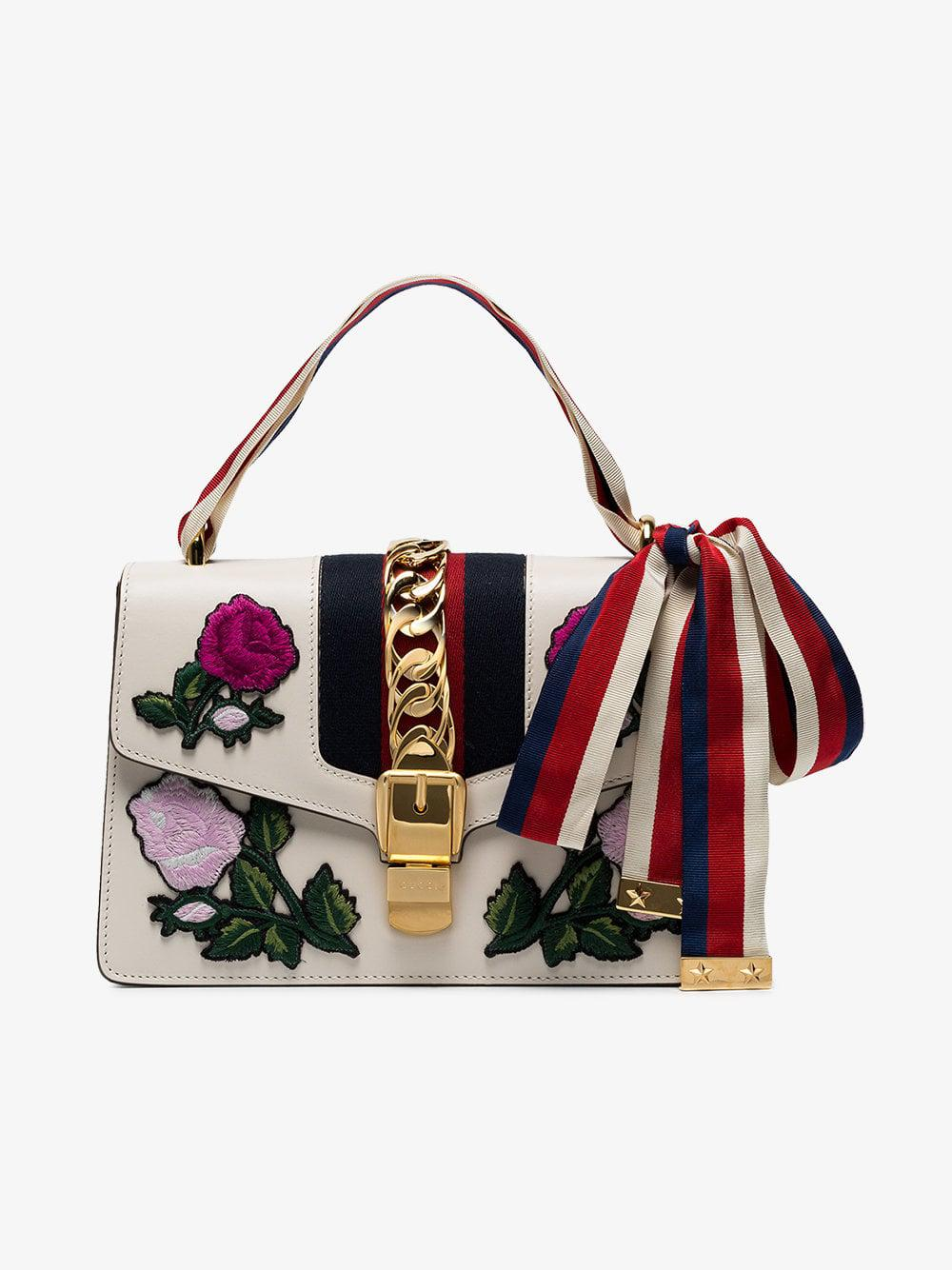 cb5cc6daf8f Lyst - Gucci Sylvie Embroidered Small Shoulder Bag in White