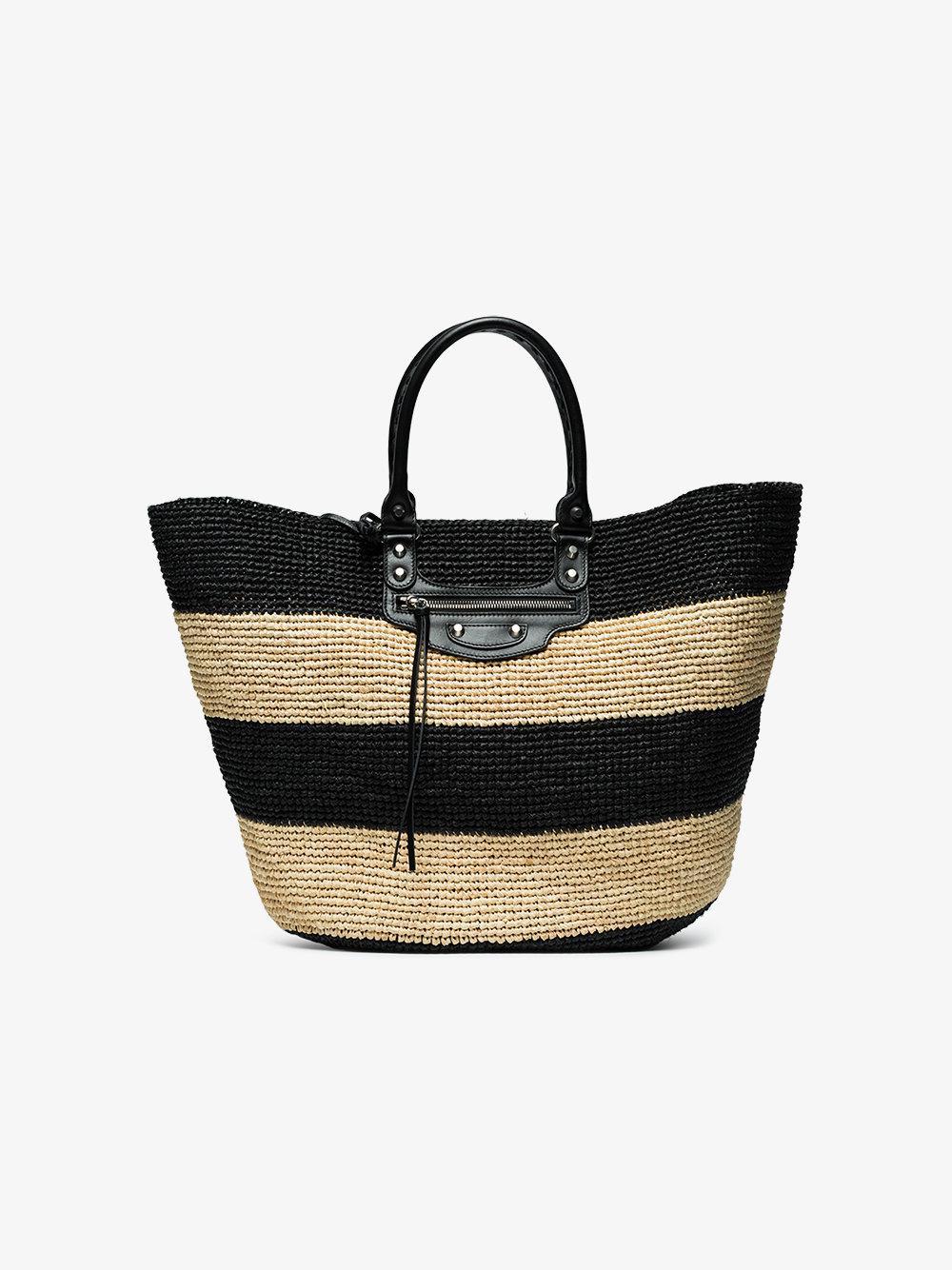 6937584e416 Balenciaga Panier Raffia Bag in Black - Lyst