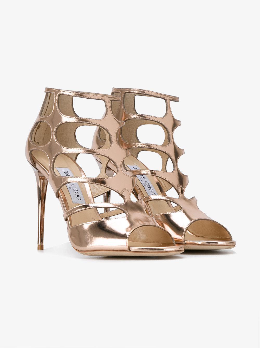 ff8b572a69e Lyst - Jimmy Choo Ren 85 Caged Sandals in Metallic