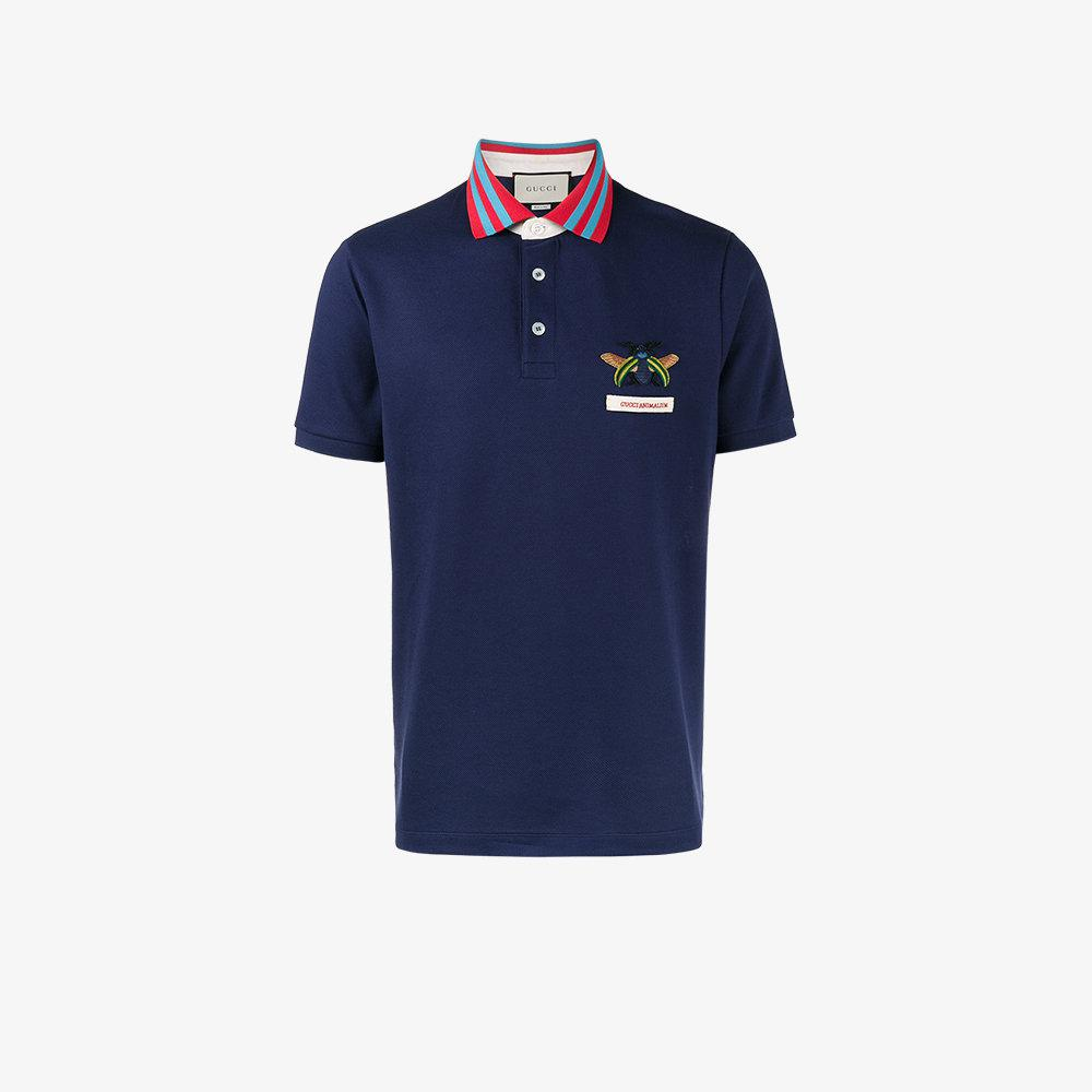 d10b1636c Gucci Bee Embroidered Polo Shirt in Blue for Men - Lyst