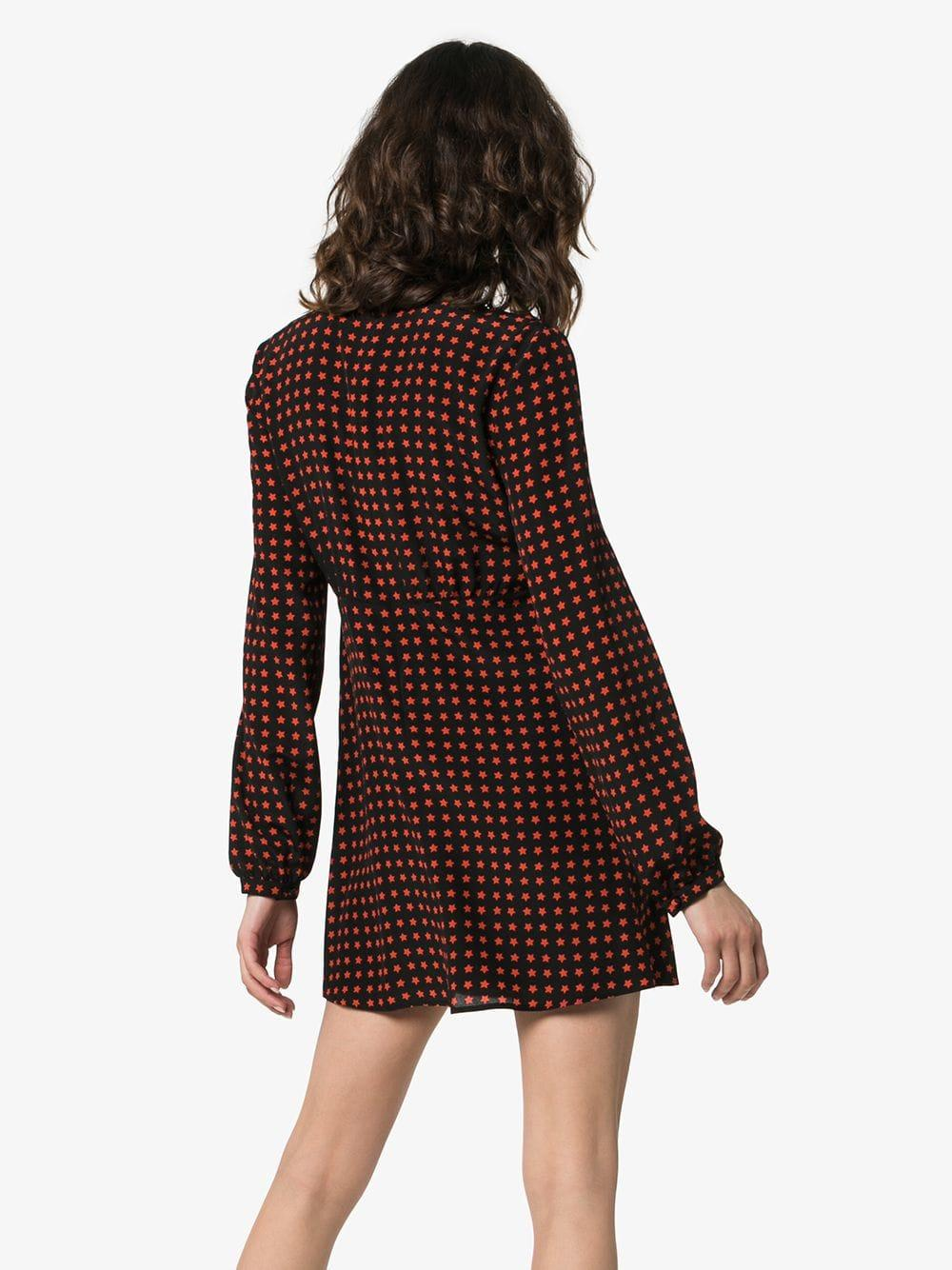 2db03cf8b38 Saint Laurent Star Print Tie Neck Long-sleeved Silk Mini Dress - Lyst