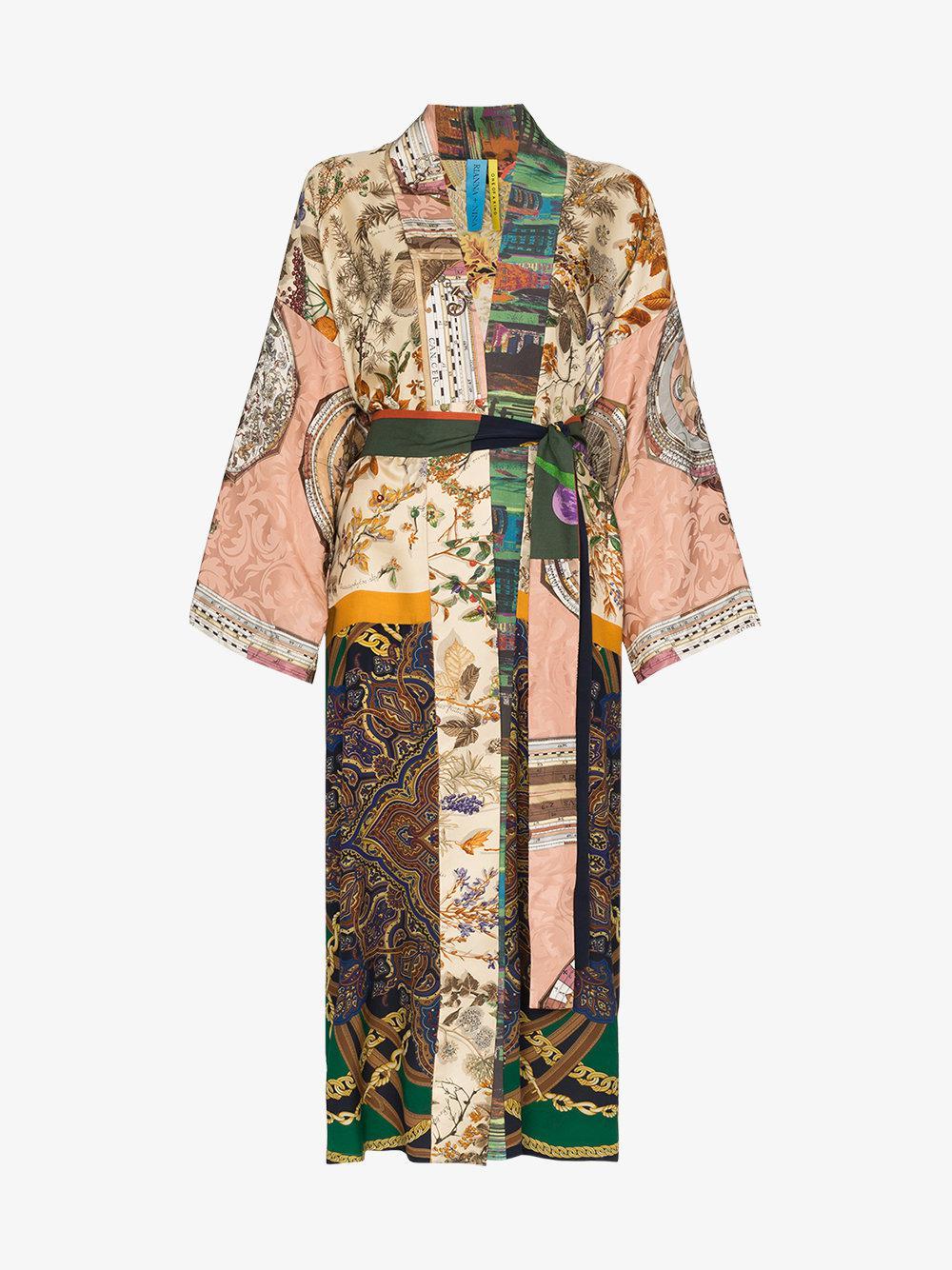 84e9ace85a Lyst - Rianna + Nina Long Multi Floral Print Silk Kimono Robe