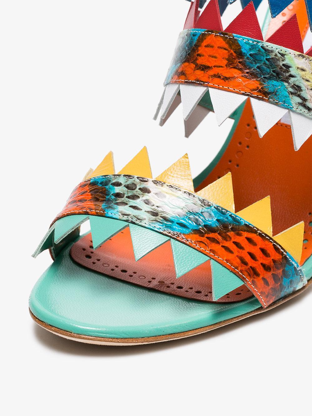 971f2ad7097 Lyst - Manolo Blahnik Multi Coloured Arpege 105 Snakeskin Sandals in ...