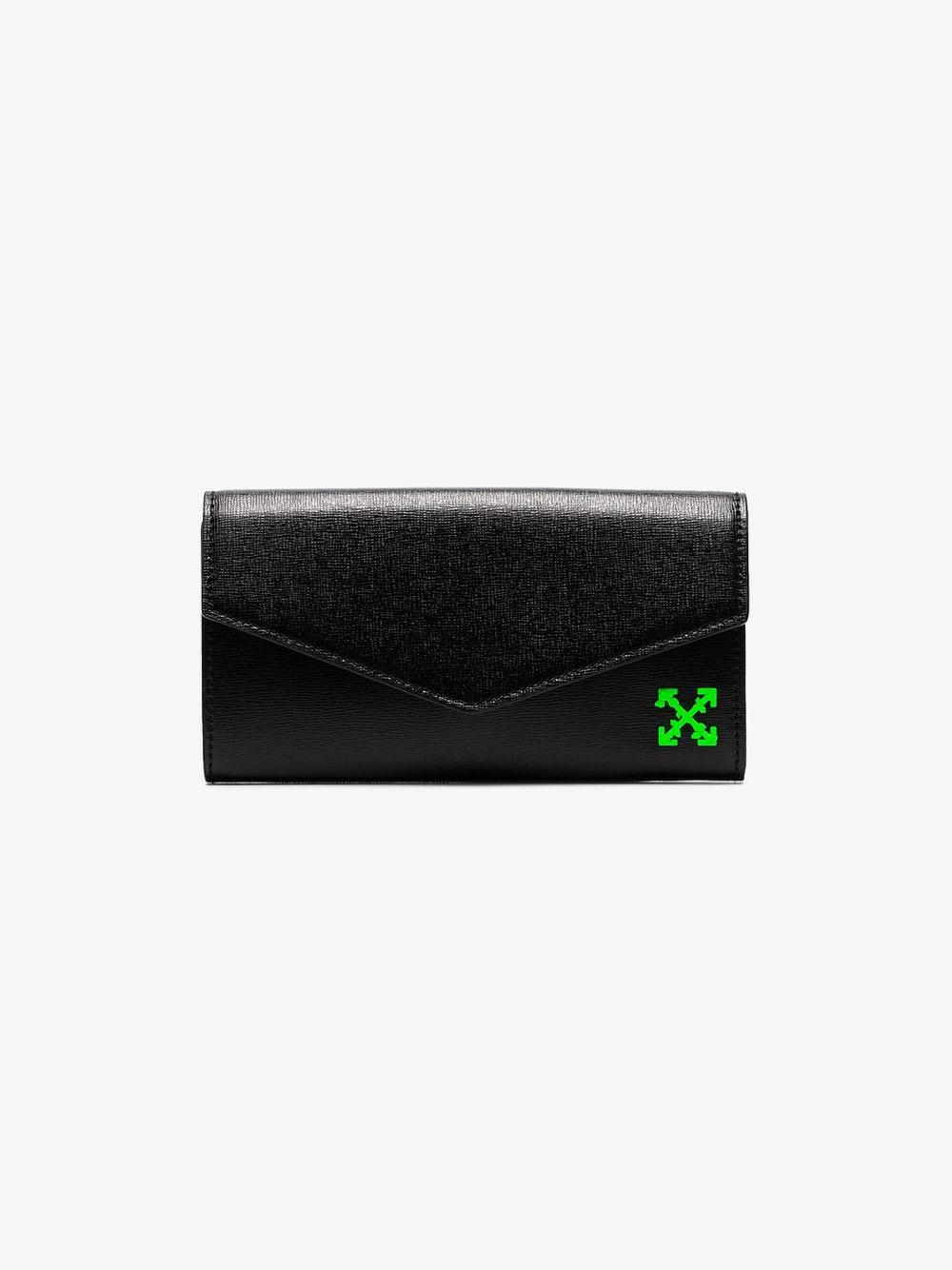 d865fd9d0f83 Off-White c o Virgil Abloh. Women s Black And Green Arrow Logo Grained  Leather Wallet